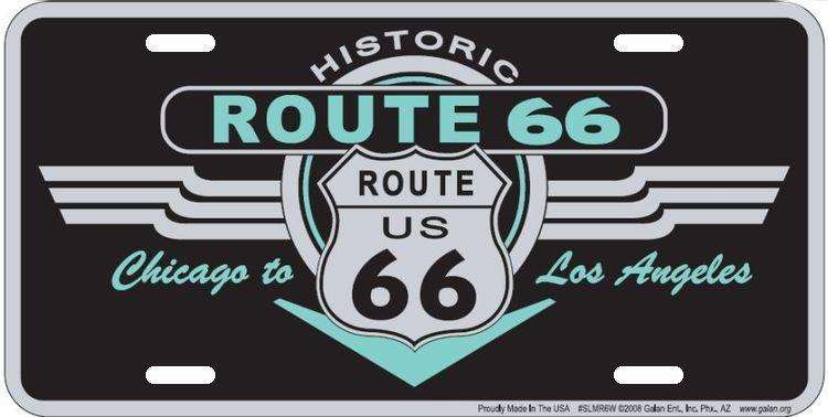 #SLMR6W - ROUTE 66 Deco License Plate