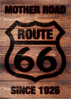 Route 66 Wood Burnt Shield Magnet