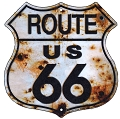 Route 66 w/Bullet Holes Shield Sign