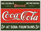 Coke Ice Cold 5 cent Fountain Metal Sign