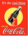 Coke Bottle w/Hand Real Thing Metal Sign