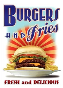 Burger & Fries Metal Sign
