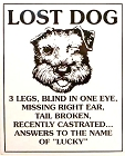 Lost Dog Metal Sign