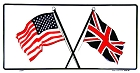 US & British Flags License Plate