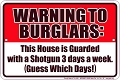 Warning to Burglars Sm. Parking Sign