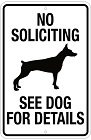 No Soliciting See Dog Small Parking Sign