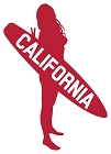 CA Surfer Red Large Sticker