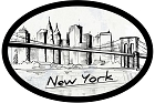 NY Skyline Oval Sticker