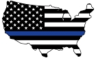 Thin Blue Line US Map Large Sticker