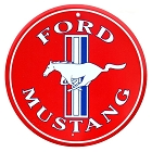 Ford Mustang Red 24 inch Large Round Sign