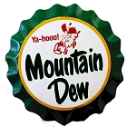 Mountain Dew Bottle Cap Die Cut Sign