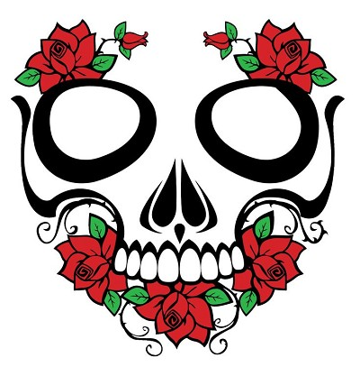 Skull And Roses Large Sticker