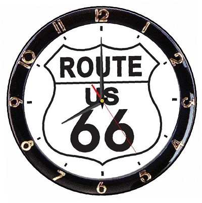 Route 66 12 in. Round Wall Clock
