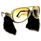Large Gold Sunglasses w/Sideburns