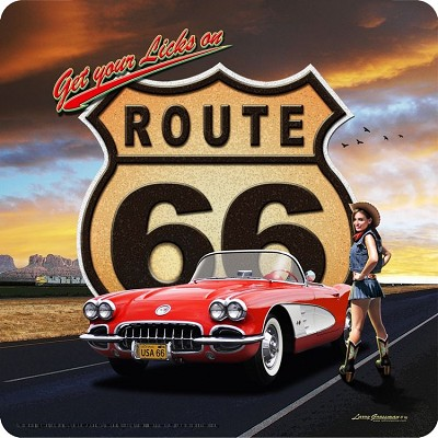 Route 66 Corvette Metal Sign