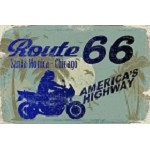 Route 66 - Blue Biker Sm. Parking Sign