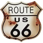 Route 66 w/Bullet Holes Large Shield Sign