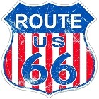 Route 66 USA Flag Shield Sign