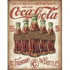 Coke - 5 Bottles Retro Metal Sign