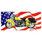 Motorcycle w/ USA Flag License Plate