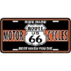 Route 66 Motorcycle License Plate