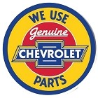 Chevy We Use Parts Round Sign