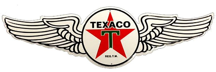 Classic Texaco Wings Die Cut Aluminum Sign | Signs 4 Fun