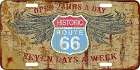 Route 66 24 Hours License Plate