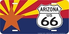 Route 66 Az Flag And Shield License Plate