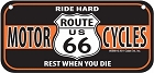 Route 66 Motorcycle Bike Tag
