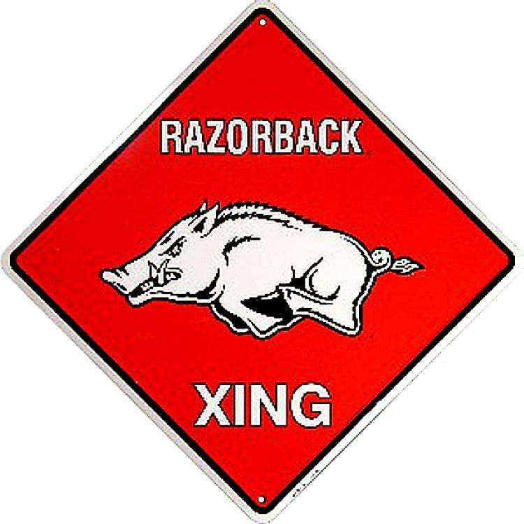 Arkansas Razorbacks College Crossing Sign