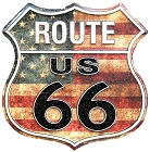 Route 66 US Flag Shield Sign