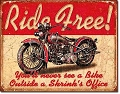 Ride Free Metal Tin Sign