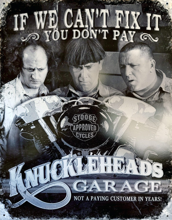 3 Stooges Knucklehead Metal Tin Sign