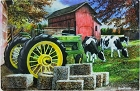 John Deere w/Cows Metal Sign