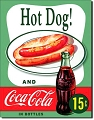 Coke Hot Dog Metal Sign
