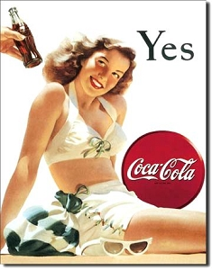 Coke Yes White Suit Metal Sign
