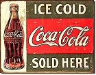 Coke Ice Cold Bottle Metal Tin Sign
