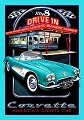Chevy '58 Corvette  Drive In Metal Sign
