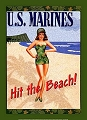 Marines Hit The Beach Metal Sign