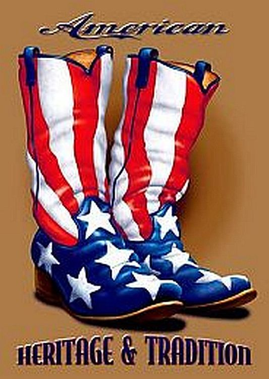 Flag Boots Metal Sign