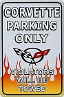 Corvette Parking Metal Sign