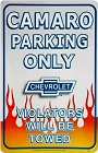 Camaro Parking Metal Sign