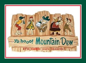 Mountain Dew Fence & Folks Metal Sign