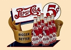 Pepsi 5 Cent Bottles Metal Sign