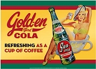 Gold-en Cola - Girl in Cup Metal Sign