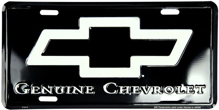 Chevy Genuine Black License Plate