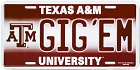 Texas A&M Gig Em License Plate