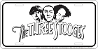 3 Stooges White License Plate