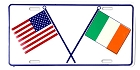 US & Irish Flags License Plate